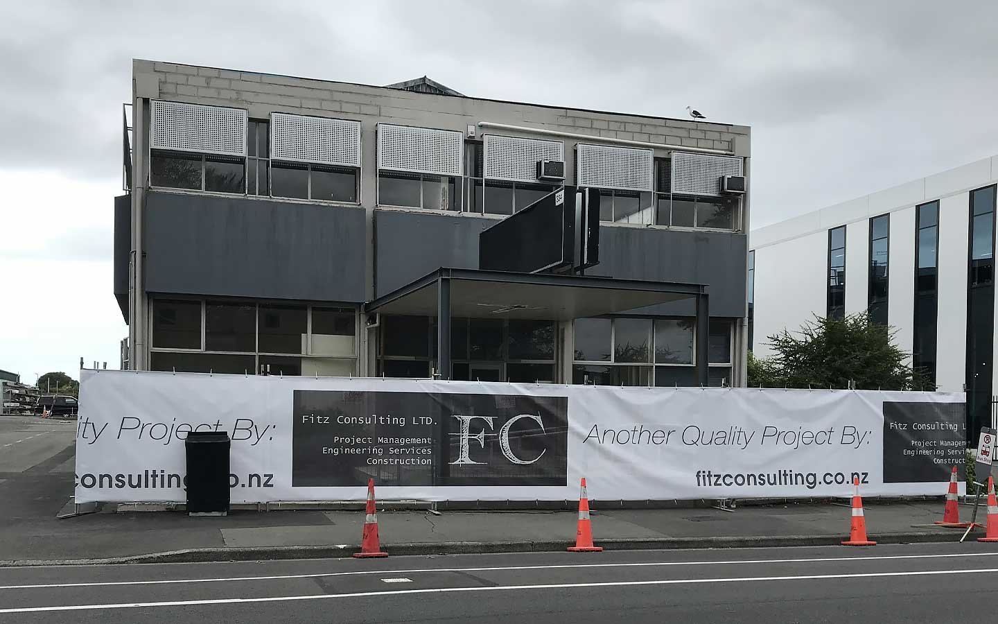 A commercial building under renovations.