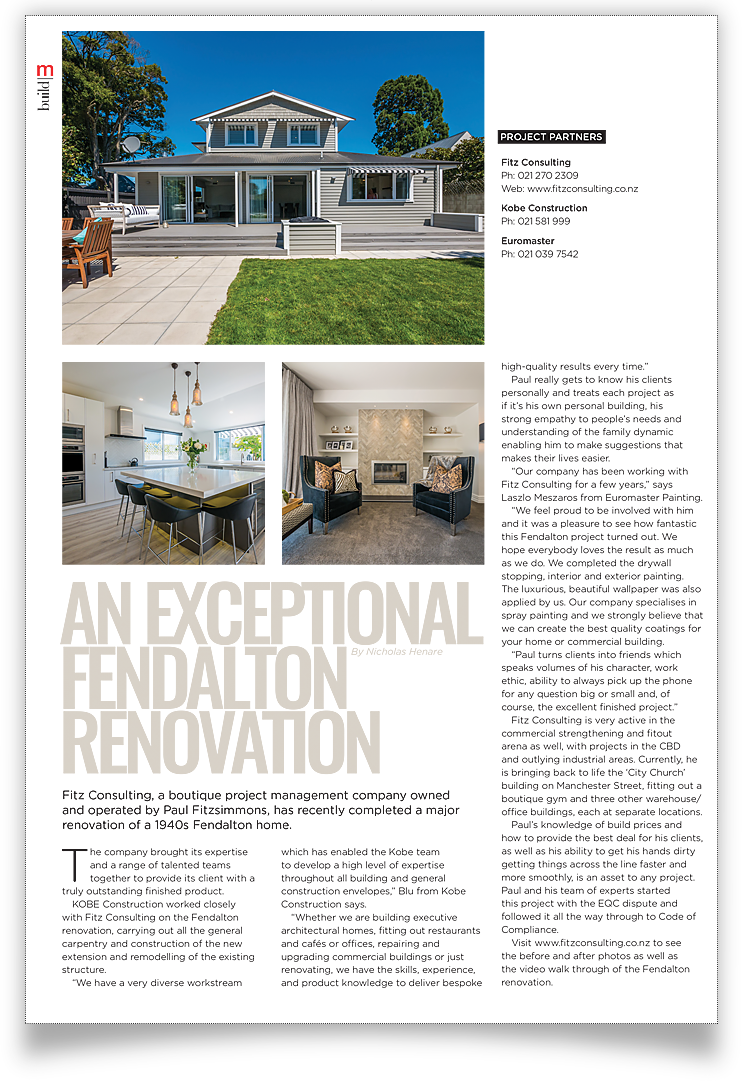 A magazine article about Fitz Construction.