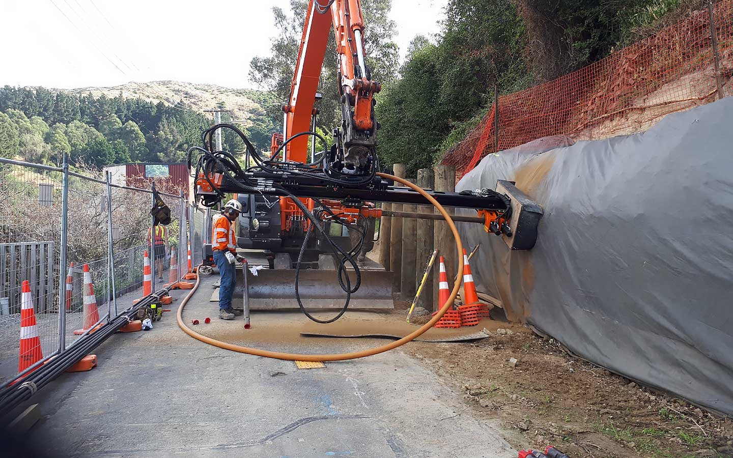 A civil construction retaining wall being installed.